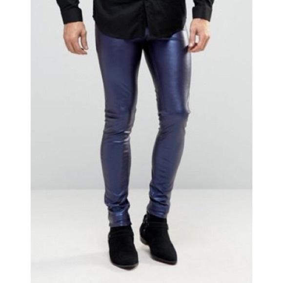 3b66276c439 ASOS Pants | Mens Meggings In Metallic Blue | Poshmark